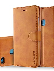 Недорогие -Кейс для Назначение Huawei P10 Lite P10 Plus Бумажник для карт Кошелек Флип Чехол Однотонный Твердый Настоящая кожа для P10 Plus P10 Lite
