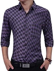 cheap -Men's Slim Shirt - Plaid Patchwork