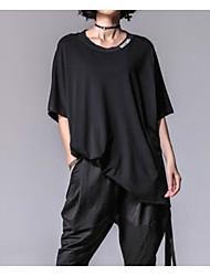 abordables -Mujer Plisado - Algodón Camiseta Un Color Manga Farol