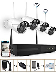 economico -videoregistratore di rete strongshine® 4ch h.264 960p kit nvr cctv wireless con fotocamera ir da 1,3 MP ir