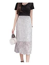 abordables -Mujer Básico Línea A Faldas A Lunares