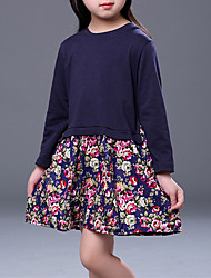 cheap -Girl's Party Daily Going out Holiday School Solid Floral Jacquard Dress, Cotton All Seasons Long Sleeves Simple Vintage Cute Navy Blue