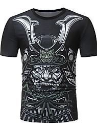 お買い得  -男性用 プリント Tシャツ フラワー / スカル コットン ブラック XL