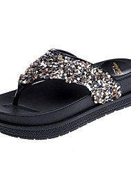 abordables -Femme Chaussures Polyuréthane Printemps Confort Chaussons & Tongs Creepers Bout rond Strass Or / Noir / Argent