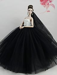 abordables -Vestidos Vestir por Muñeca Barbie  Blanco/Negro Tul Tela de Encaje Mezcla de Seda y Algodón Vestido por Chica de muñeca de juguete