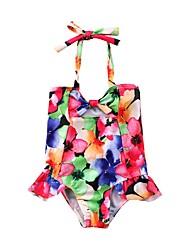 cheap -Girls' Cute Active Floral Swimwear, Nylon Sleeveless Rainbow