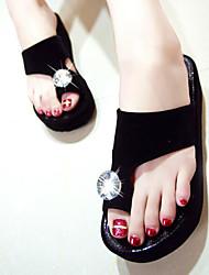 baratos -Mulheres Sapatos Tecido Verão Conforto Sandálias Salto Plataforma para Casual Branco Preto