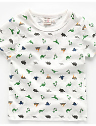 cheap -Boys' Daily Holiday Print Tee, Cotton Polyester Summer Short Sleeves Cute Active White