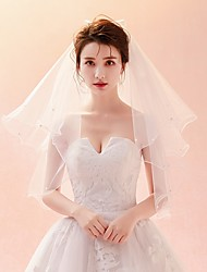 cheap -Four-tier Cut Edge Veil Wedding Veil Elbow Veils 53 Satin Bow Pattern Tulle