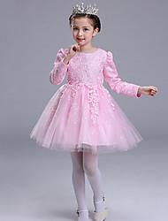 billige -Baby Pige Blonde / Rosette / Pænt tøj Kortærmet Kjole