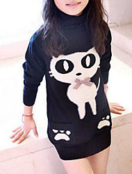 cheap -Girls' Blouse, Rayon Winter Fall Long Sleeves Cartoon Black