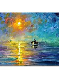 Недорогие -styledecor® современная ручная роспись абстрактного заката и масляной живописи лодки на холсте для настенного искусства, готового повесить искусство