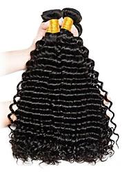 cheap -Peruvian Hair / Deep Wave Curly / Deep Wave Unprocessed Human Hair / Virgin Human Hair Gifts / Human Hair Extensions 3 Bundles Human Hair Weaves Hot Sale / For Black Women / Coloring Natural Black