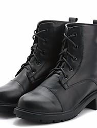 povoljno -Žene Cipele Koža Zima Vojničke čizme Čizme Kockasta potpetica Čizme gležnjače / do gležnja za Kauzalni Crn