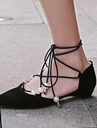 povoljno -Žene Cipele Koža Proljeće Jesen Udobne cipele Ravne cipele Ravna potpetica Krakova Toe Ukrasna trakica za Kauzalni Crn