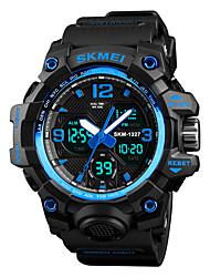 Недорогие -SKMEI Муж. Спортивные часы Японский Будильник / Секундомер / Защита от влаги PU Группа На каждый день / Мода Черный / Коричневый / Зеленый / С двумя часовыми поясами / Хронометр