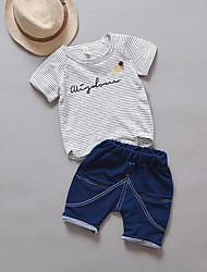 cheap -Boys' Striped Short Sleeves Clothing Set