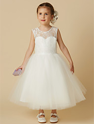 cheap -Princess Tea Length Flower Girl Dress - Lace Tulle Sleeveless Jewel Neck with Lace by LAN TING BRIDE®