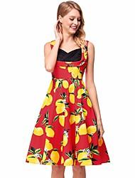 abordables -Mujer Vintage Línea A Vestido - Estampado, Fruta Hasta la Rodilla Limón