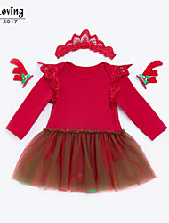 cheap -baby girl's daily solid colored dress, cotton polyester spring fall cute long sleeves blushing pink red 73 66 59 80