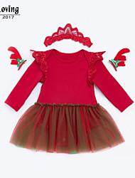 baratos -vestido de cor sólida diária do bebê menina, poliéster de algodão queda de primavera mangas compridas bonito blushing rosa vermelha 73 66