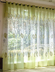 cheap -Sheer Curtains Shades Living Room Floral Contemporary Cotton / Polyester Embroidery