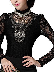 cheap -Women's Going out Blouse - Jacquard Lace Beaded Stand