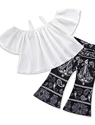 cheap -Girls' Party Daily Geometric Print Clothing Set, Cotton Polyester Summer Short Sleeves Cute Boho White
