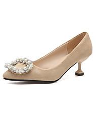 baratos -Mulheres Sapatos Borracha Verão Conforto Saltos Salto Baixo Dedo Apontado para Ao ar livre Preto Khaki