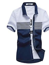 billige -Herre - Farveblok Trykt mønster Basale Skjorte