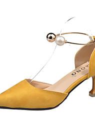 preiswerte -Damen Schuhe PU Herbst Pumps High Heels Stöckelabsatz Spitze Zehe Niete für Kleid Schwarz Gelb