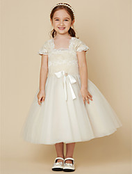 cheap -A-Line Tea Length Flower Girl Dress - Lace / Tulle Short Sleeve Square Neck with Bow(s) / Sash / Ribbon by LAN TING BRIDE®