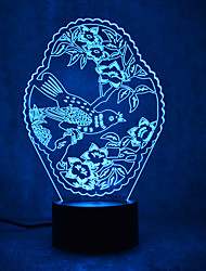 cheap -1set Bird 3D Nightlight Change USB Touch Sensor with USB Port Color-Changing