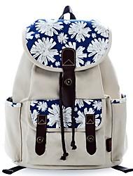 baratos -Mulheres Bolsas Tela de pintura mochila Estampa Geométrica Marron / Branco / Laranja