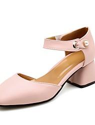 abordables -Femme Chaussures Similicuir Printemps Eté Confort Sandales Talon Bottier Bout rond Boucle pour Bureau et carrière Soirée & Evénement