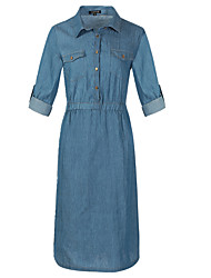 cheap -Women's Plus Size Street chic / Sophisticated Cotton Slim Sheath / Shirt Dress - Solid Colored Rivet High Waist Shirt Collar