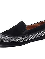 Недорогие -Жен. Обувь Полиуретан Весна Удобная обувь На плокой подошве На плоской подошве Круглый носок Стразы Черный / Красный