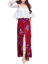 Недорогие -Жен. Тонкие Рубашка Юбки Цветочный принт С открытыми плечами / Лето
