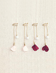 cheap -Women's Pearl Long Drop Earrings - Pearl, Gold Plated Flower Simple, Sweet, Fashion Wine / Light Pink For Gift / Daily
