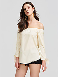 cheap -Women's Chic & Modern Cotton Shirt - Solid Color