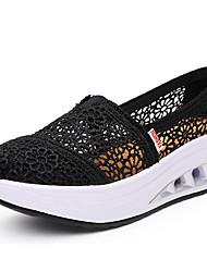 baratos -Mulheres Sapatos Tule Primavera Outono Sapatos de Berço Conforto Mocassins e Slip-Ons Salto Plataforma para Casual Preto Cinzento Fúcsia