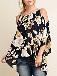 Недорогие -Жен. Блуза Свободный силуэт Уличный стиль Цветочный принт / Цветочные паттерны