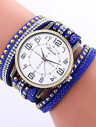 baratos -Mulheres Relógio de Moda Chinês Mostrador Grande PU Banda Casual Preta / Branco / Azul / Um ano