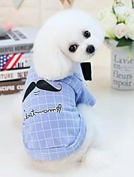 abordables -Perros Gatos Animales Pequeños de Pelo Mascotas Camiseta Ropa para Perro Persona Letra y Número Caricatura Amarillo Azul Algodón /