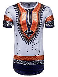 baratos -Homens Camiseta - Esportes Moda de Rua Estampado, Estampa Colorida Algodão Decote Redondo