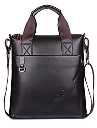 cheap -Men's Bags Genuine Leather Tote Zipper for Outdoor Black / Brown