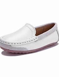 cheap -Girls' Boys' Shoes Leather Spring Fall Comfort Loafers & Slip-Ons for Casual White Black