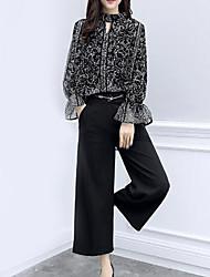 abordables -Mujer Noche Corte Ancho Blusa - Floral Cuello Barco Pantalón