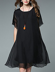 cheap -Women's Plus Size Silk / Cotton Loose Shift Dress - Solid Colored Pleated / Rivet