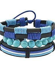 baratos -Mulheres Oco Enrole Pulseiras Pulseira larga - Turmalina de imitação Vintage, Básico Pulseiras Azul Para Encontro Rua